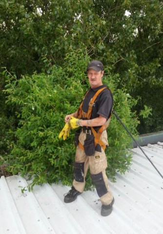 man removing plant from gutter