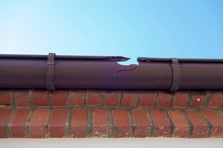 Broken guttering on a roof